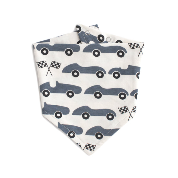 Kerchief Bib - Race Cars Slate Blue