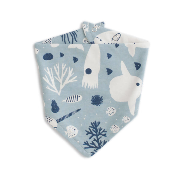 Kerchief Bib - Sea Creatures Pale Blue & Navy