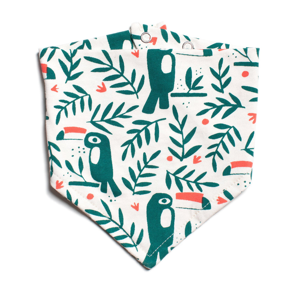 Kerchief Bib - Toucans Green