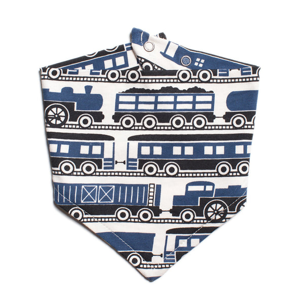 Kerchief Bib - Trains Navy