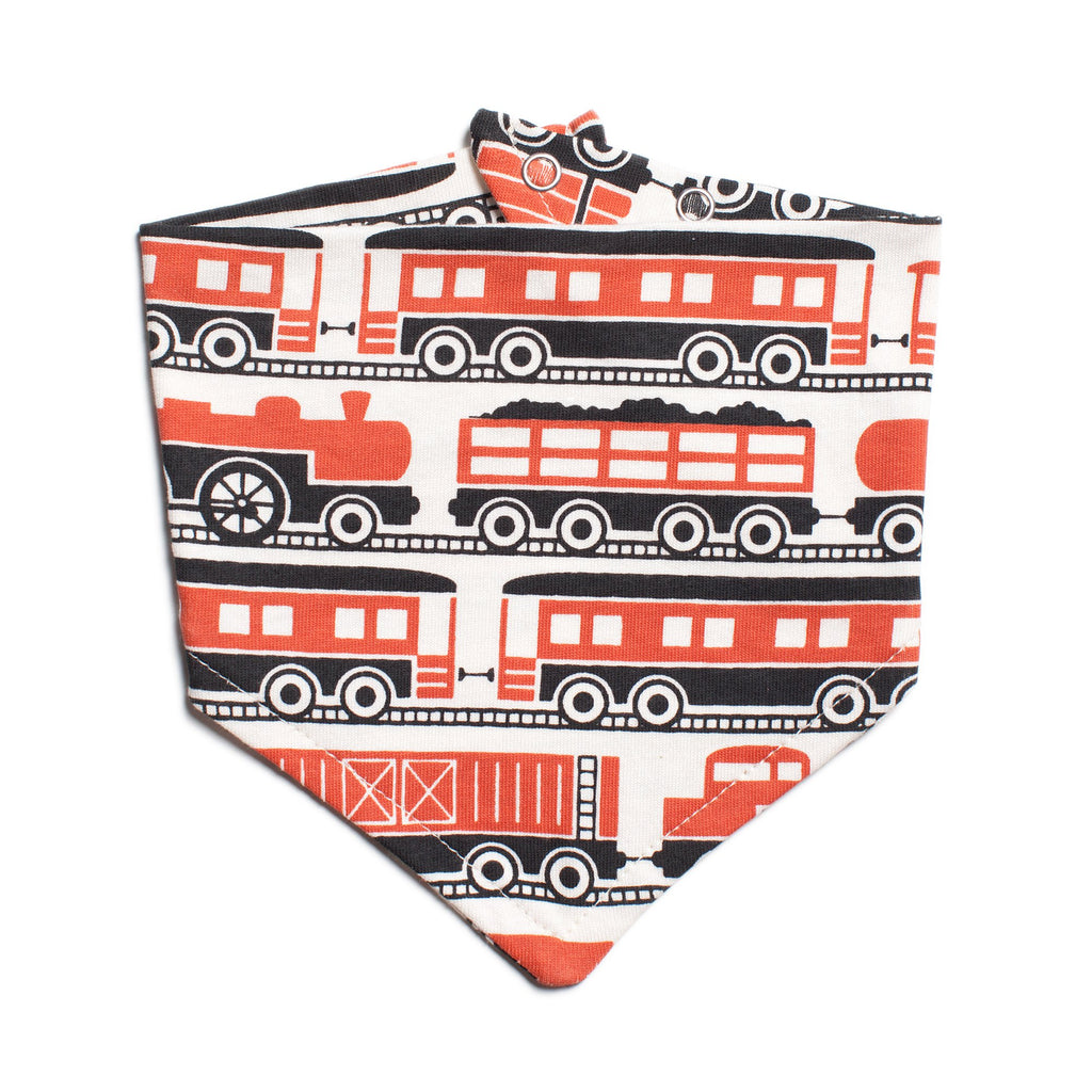 Kerchief Bib - Trains Orange
