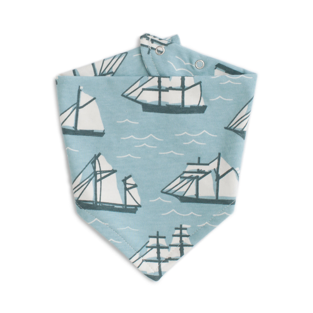 Kerchief Bib - Vintage Sailboats Ocean Blue & Teal