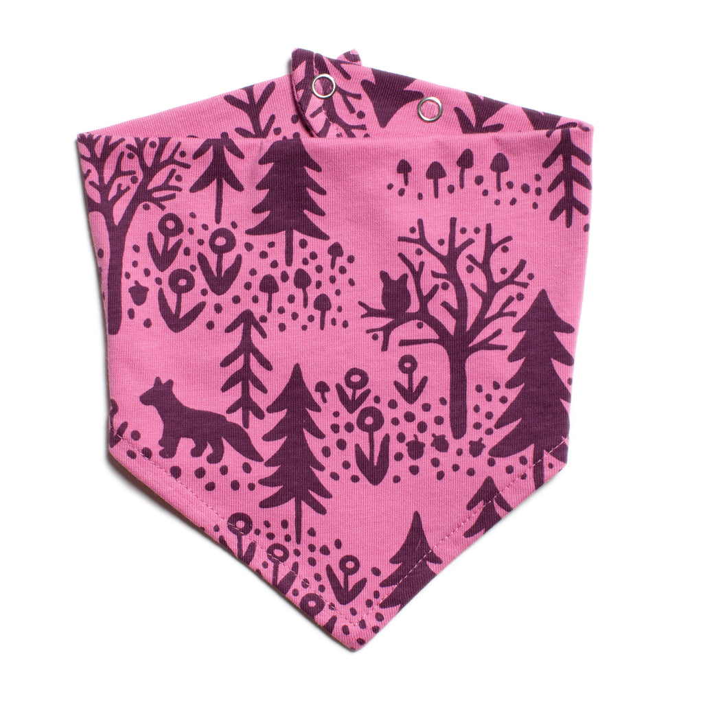 Kerchief Bib - Winter Scenic Dusty Rose