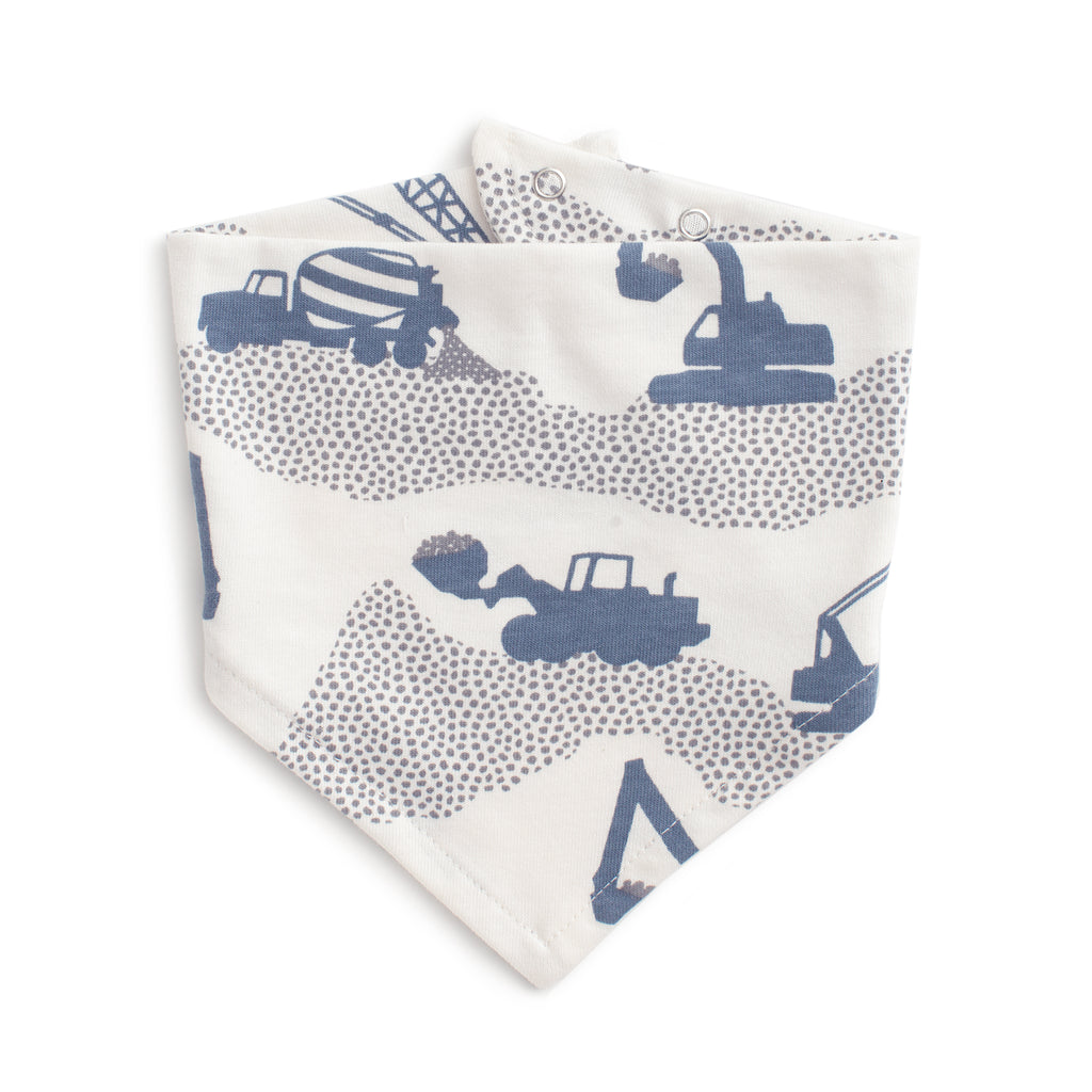 Kerchief Bib - Construction Slate Blue & Grey