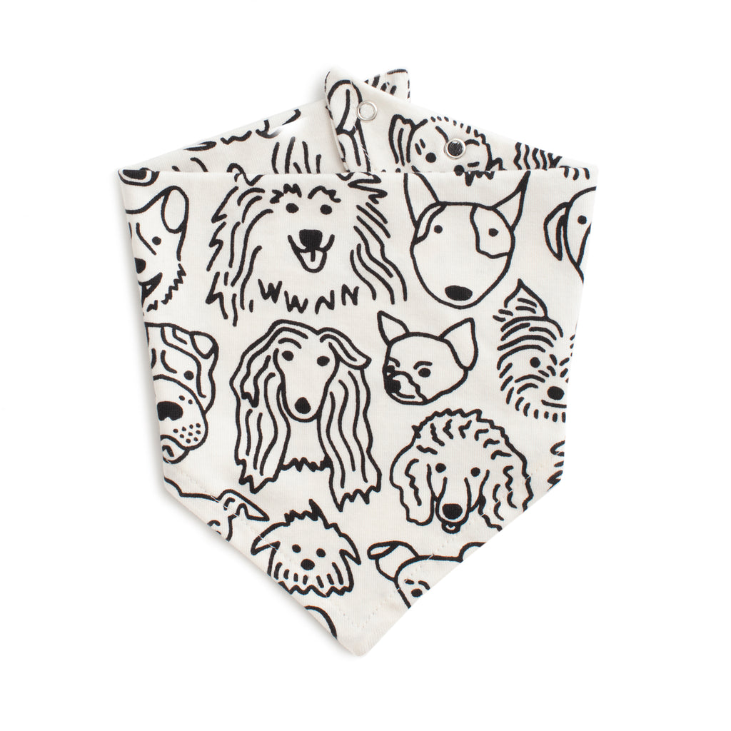 Kerchief Bib - Dogs Black