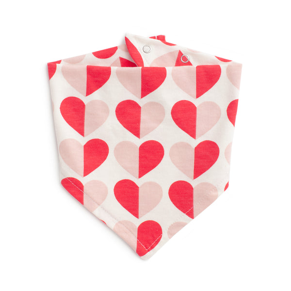 Kerchief Bib - Hearts Red & Pink