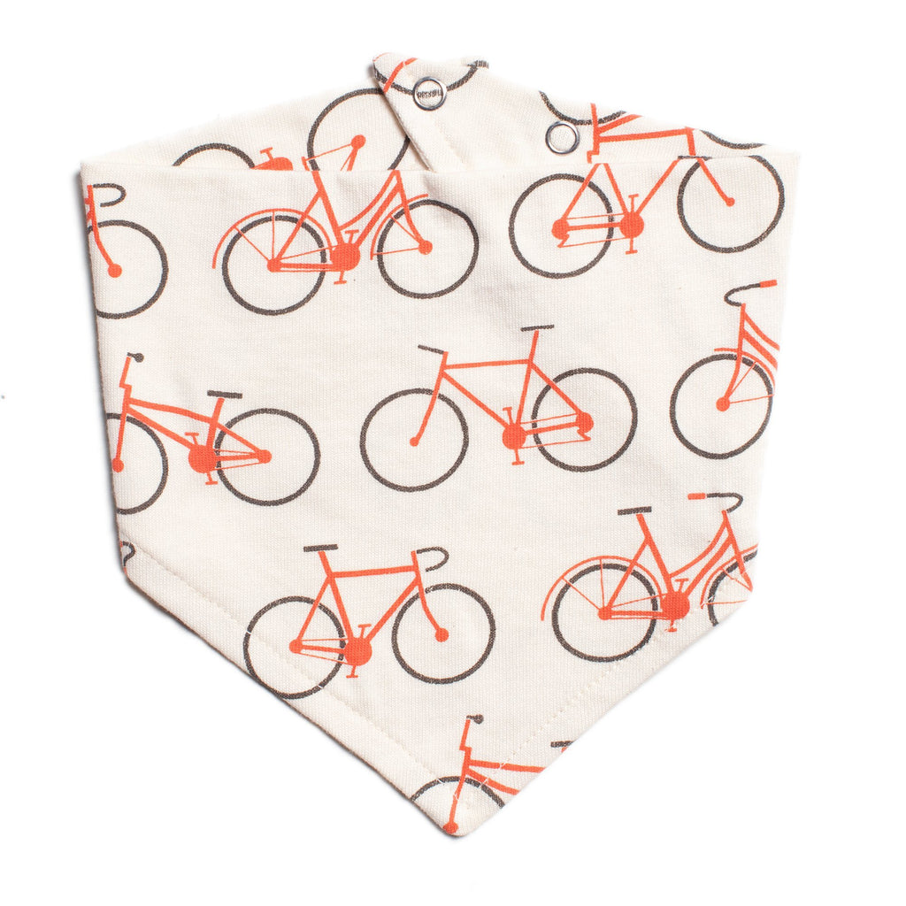 Kerchief Bib - Bicycles Orange