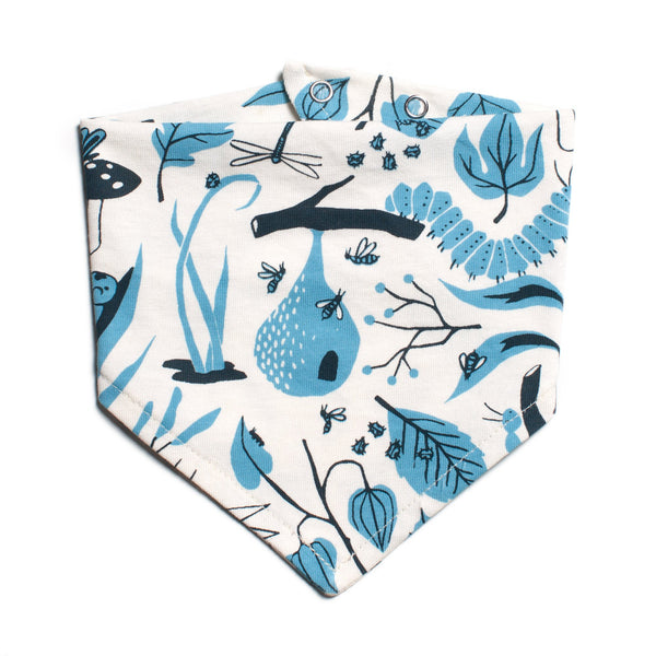 Kerchief Bib - Leaves & Bugs Blue