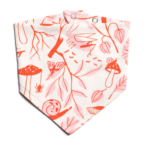Kerchief Bib - Leaves & Bugs Red & Pink