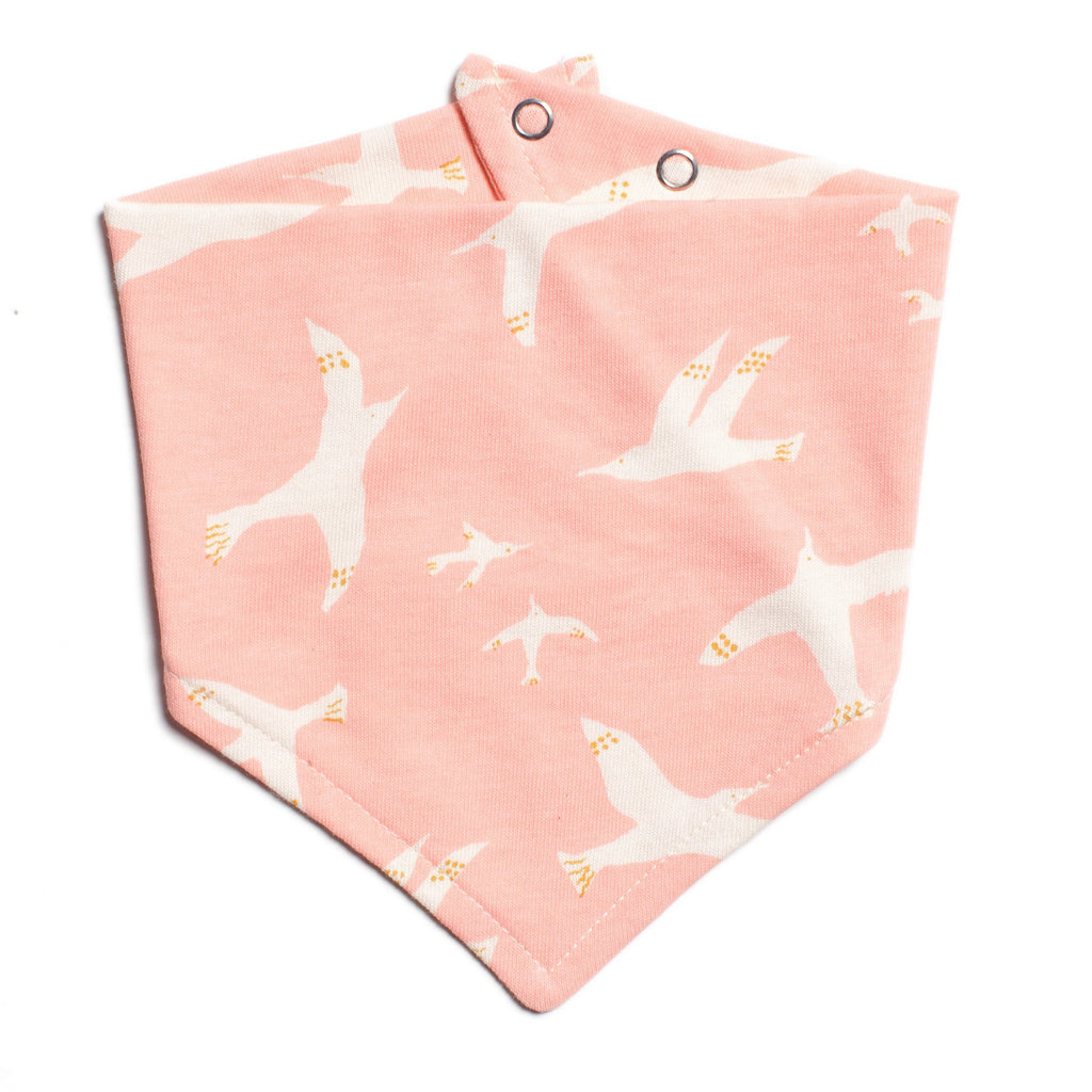 Kerchief Bib - Skybirds Blush Pink