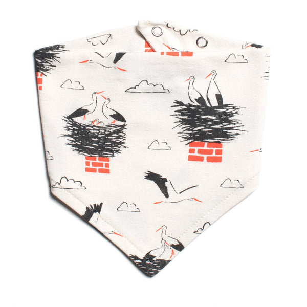 Kerchief Bib - Storks Charcoal & Orange