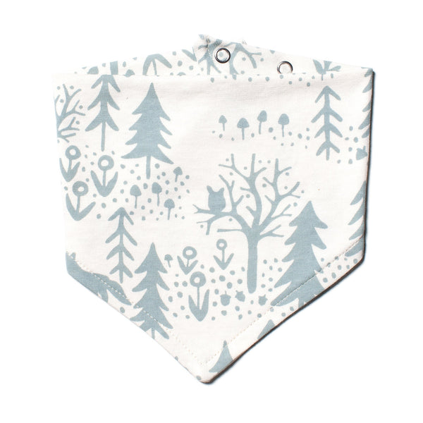 Kerchief Bib - Winter Scenic Pale Blue