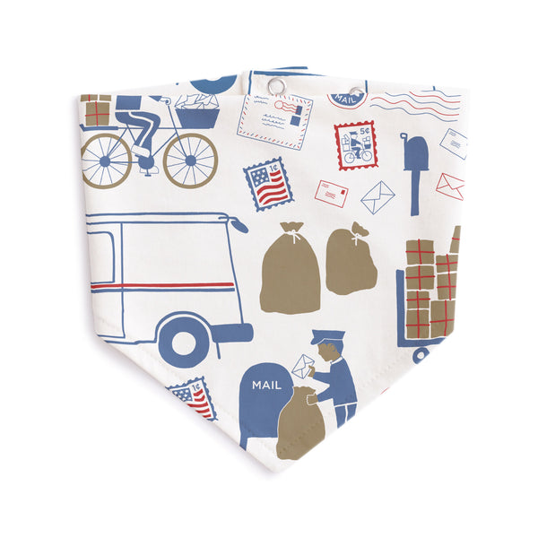 Kerchief Bib - Postal Service Red & Blue