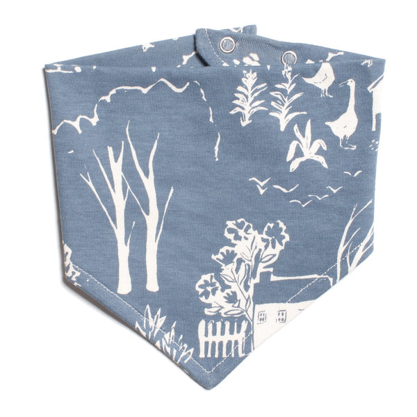 Kerchief Bib - The Farm Next Door Slate Blue