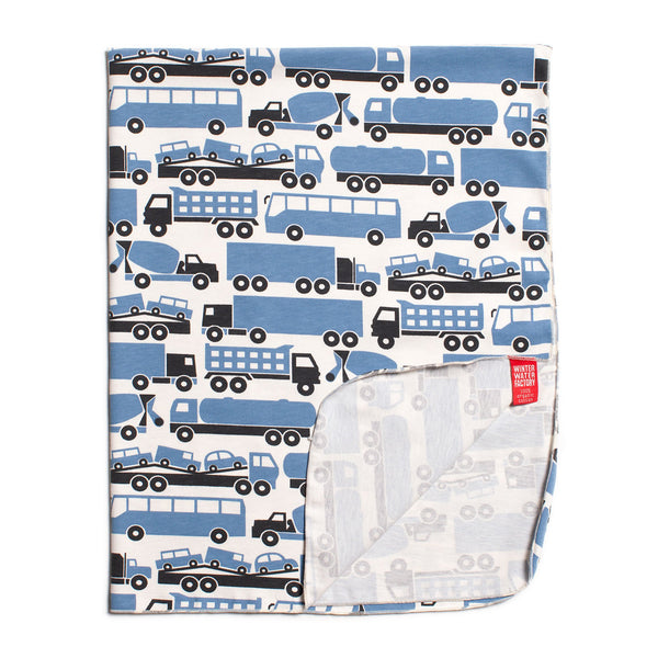 Lightweight Jersey Blanket - Big Rigs Blue