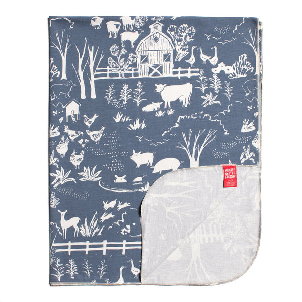 Lightweight Jersey Blanket - The Farm Next Door Slate Blue