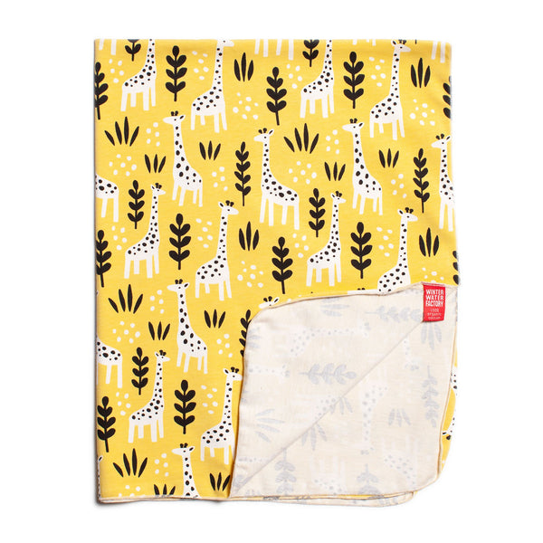Lightweight Jersey Blanket - Giraffes Yellow