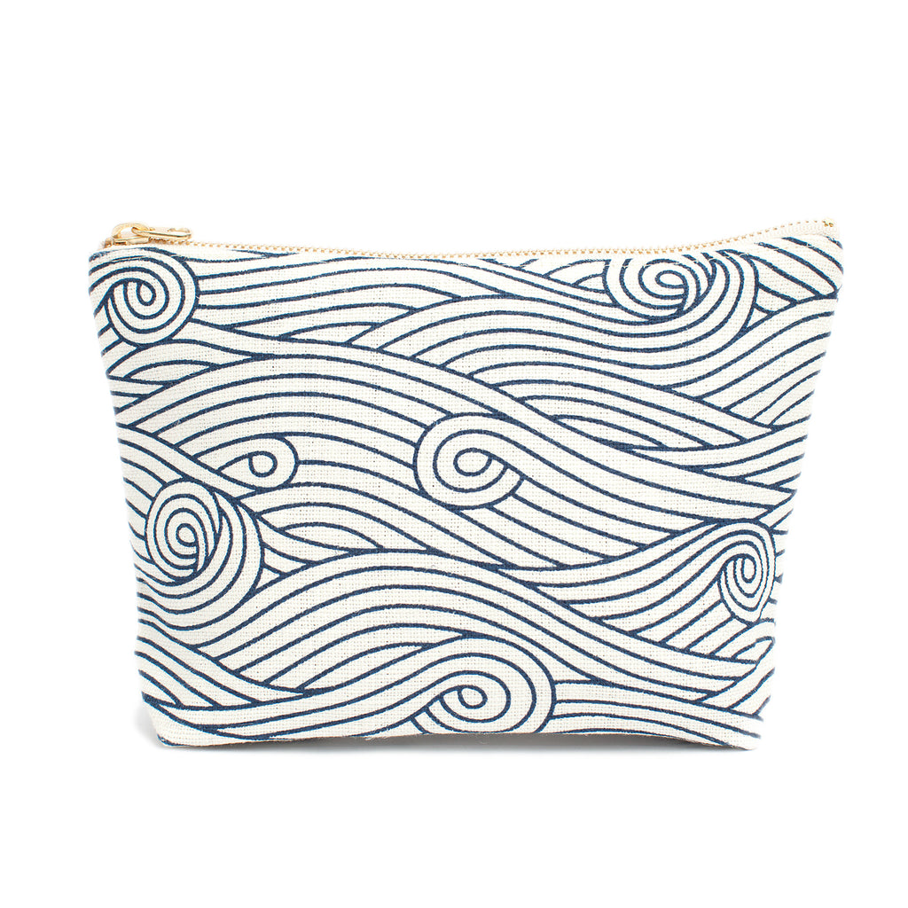 Canvas Gusset Pouch - Ocean Waves Navy