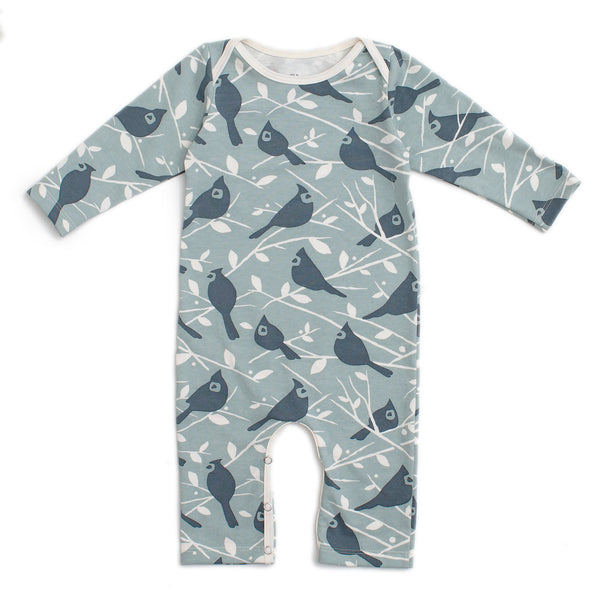 Long-Sleeve Romper - Birds In the Trees Blue