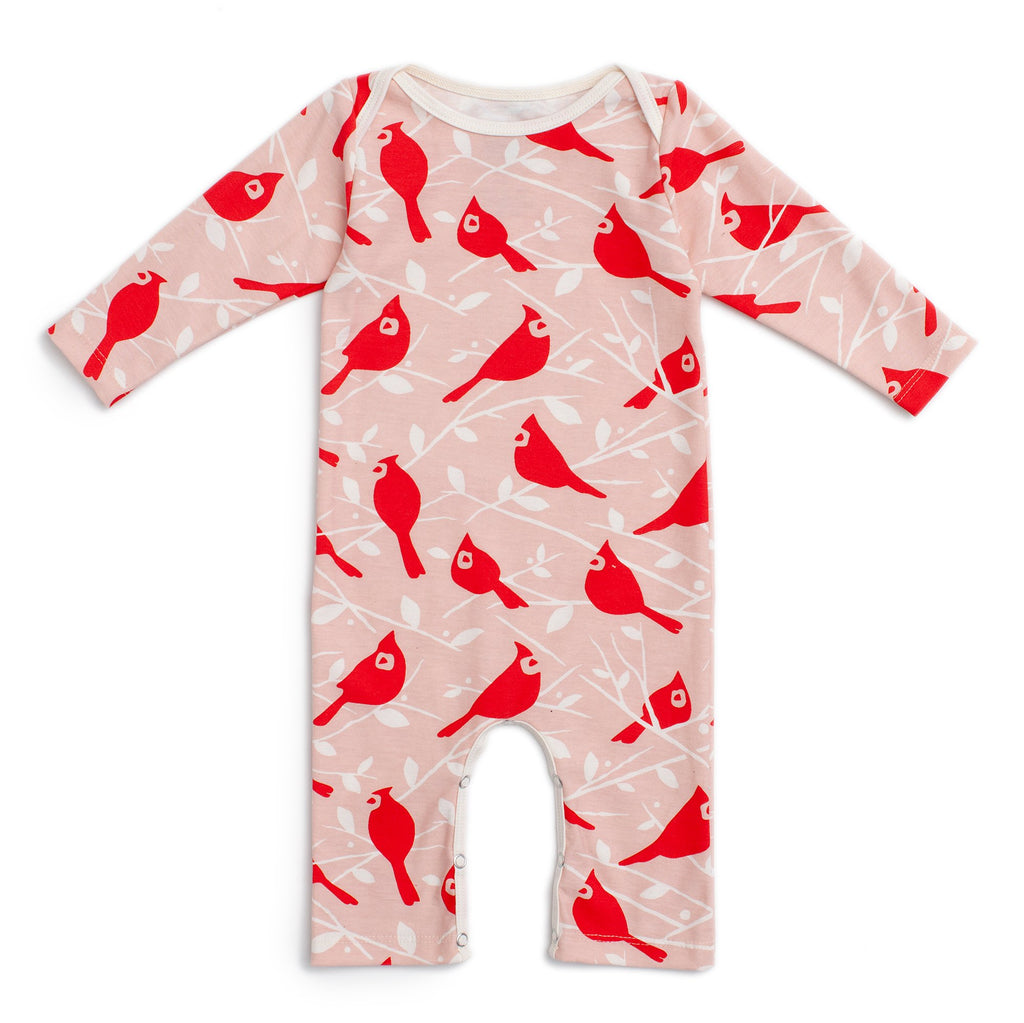 Long-Sleeve Romper - Birds In the Trees Red & Pink