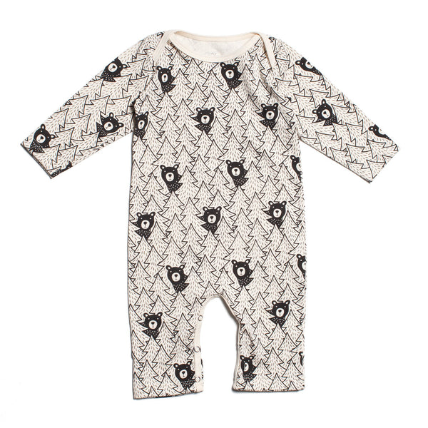 Long Sleeve Romper - Bears Black
