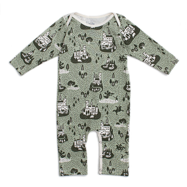 Long-Sleeve Romper - Castles & Villages Sage & Forest Green