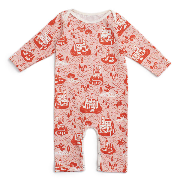 Long-Sleeve Romper - Castles & Villages Pink & Orange
