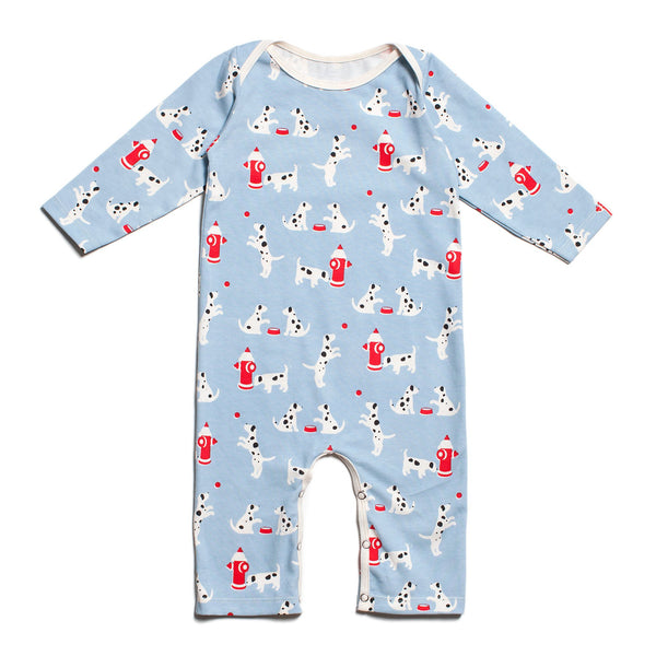 Long-Sleeve Romper - Dalmatians Blue