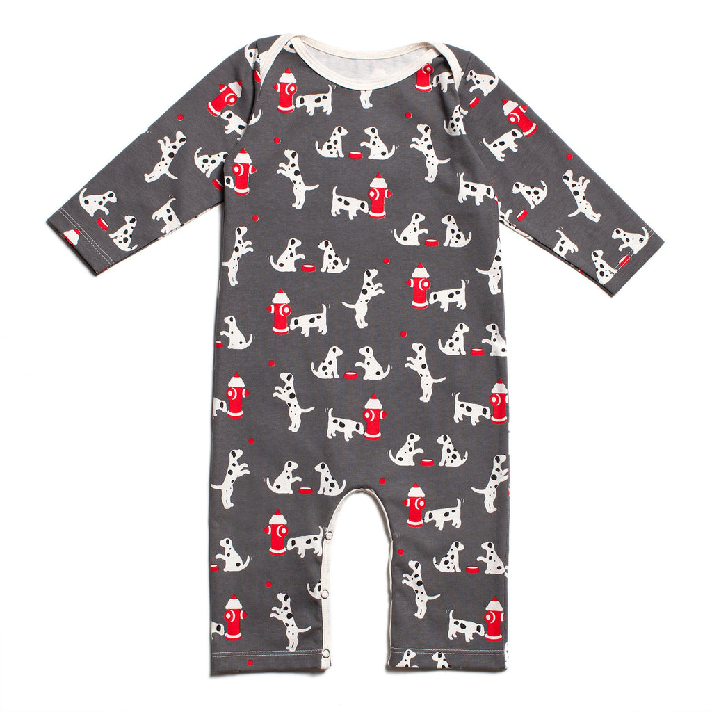 Long-Sleeve Romper - Dalmatians Charcoal