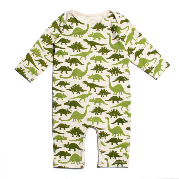 Long-Sleeve Romper - Dinosaurs Green