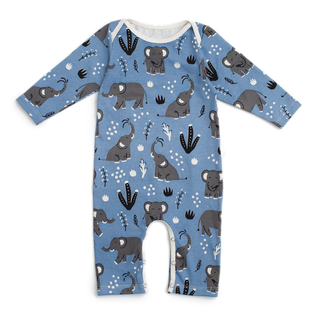 Long-Sleeve Romper - Elephants Blue