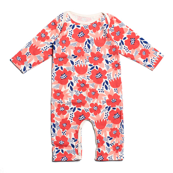 Long-Sleeve Romper - Flower Garden Coral