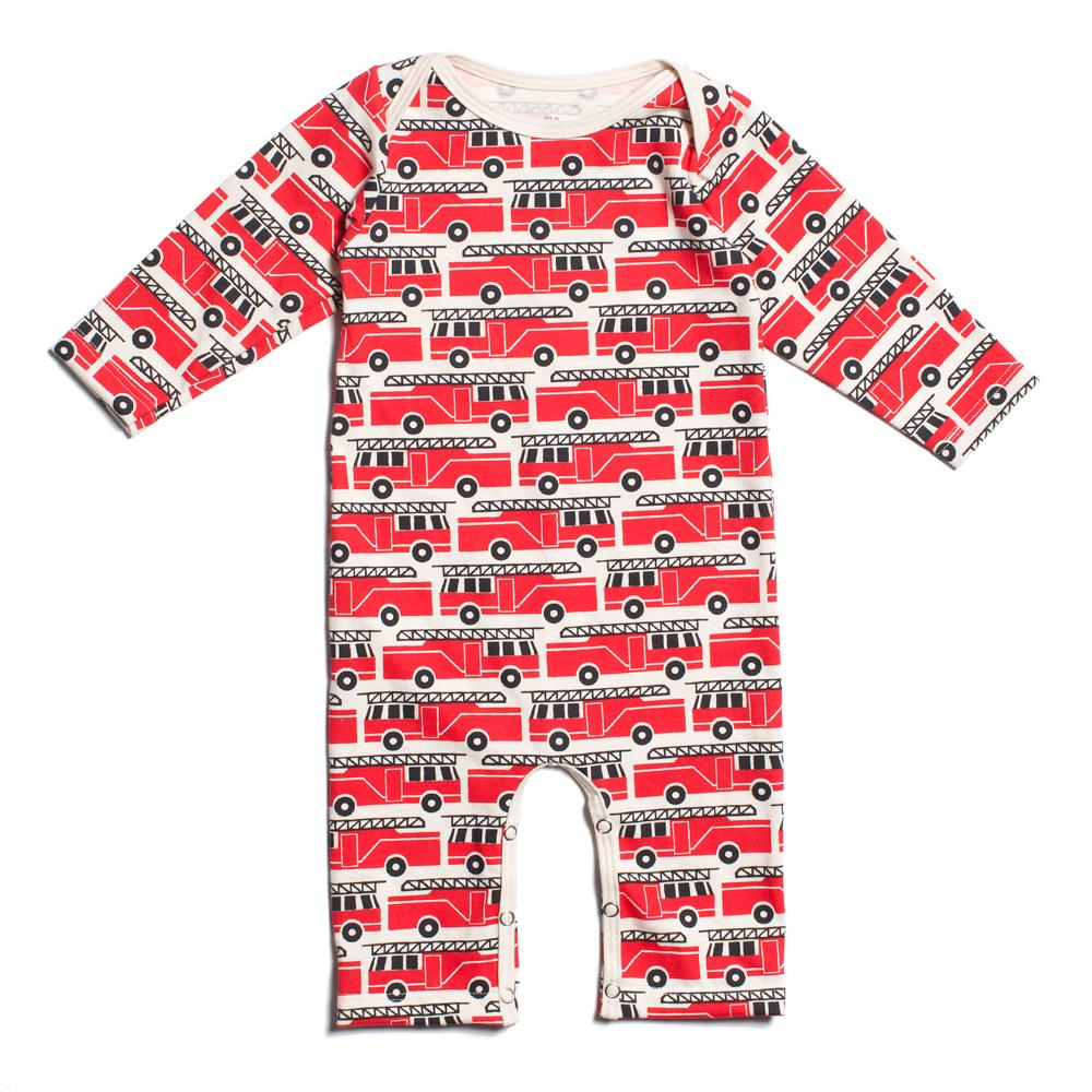 Long-Sleeve Romper - Firetrucks Red