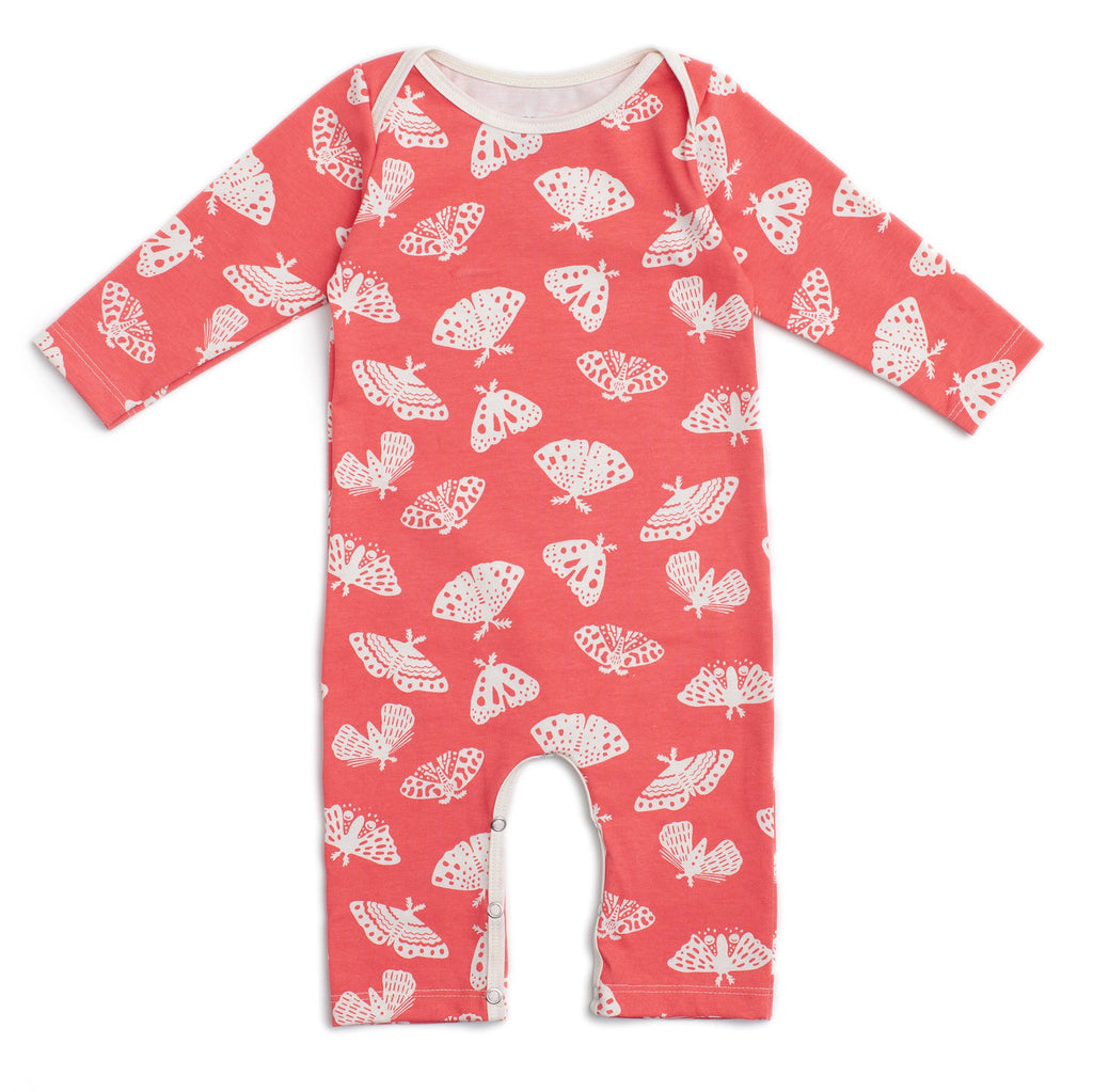 Long-Sleeve Romper - Moths Coral
