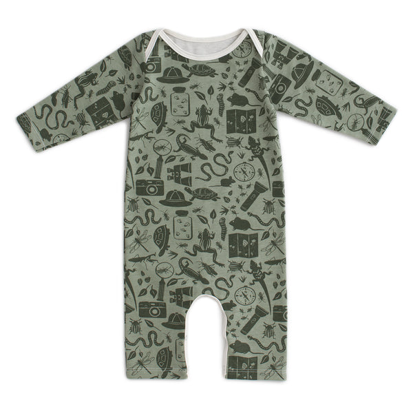 Long-Sleeve Romper - Nature Explorer Sage & Forest Green