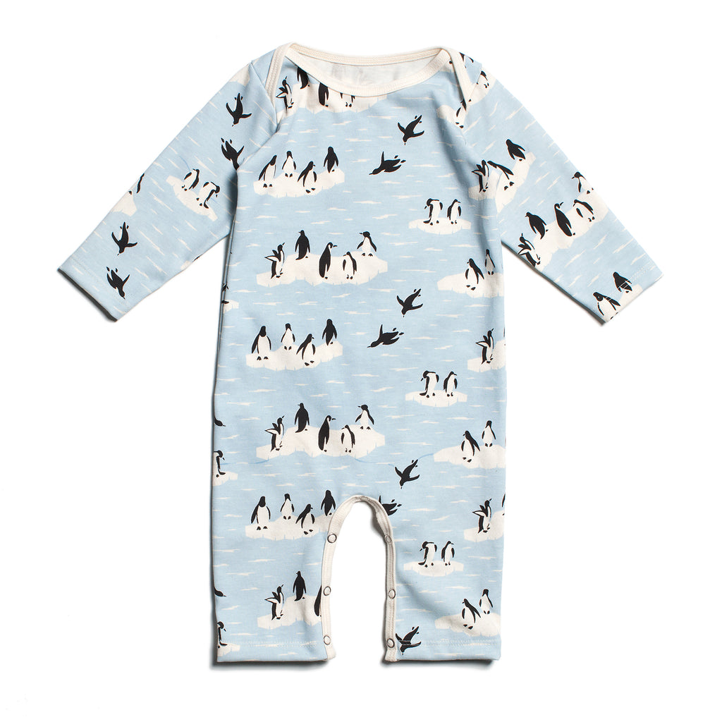 Long-Sleeve Romper - Penguins Winter Blue