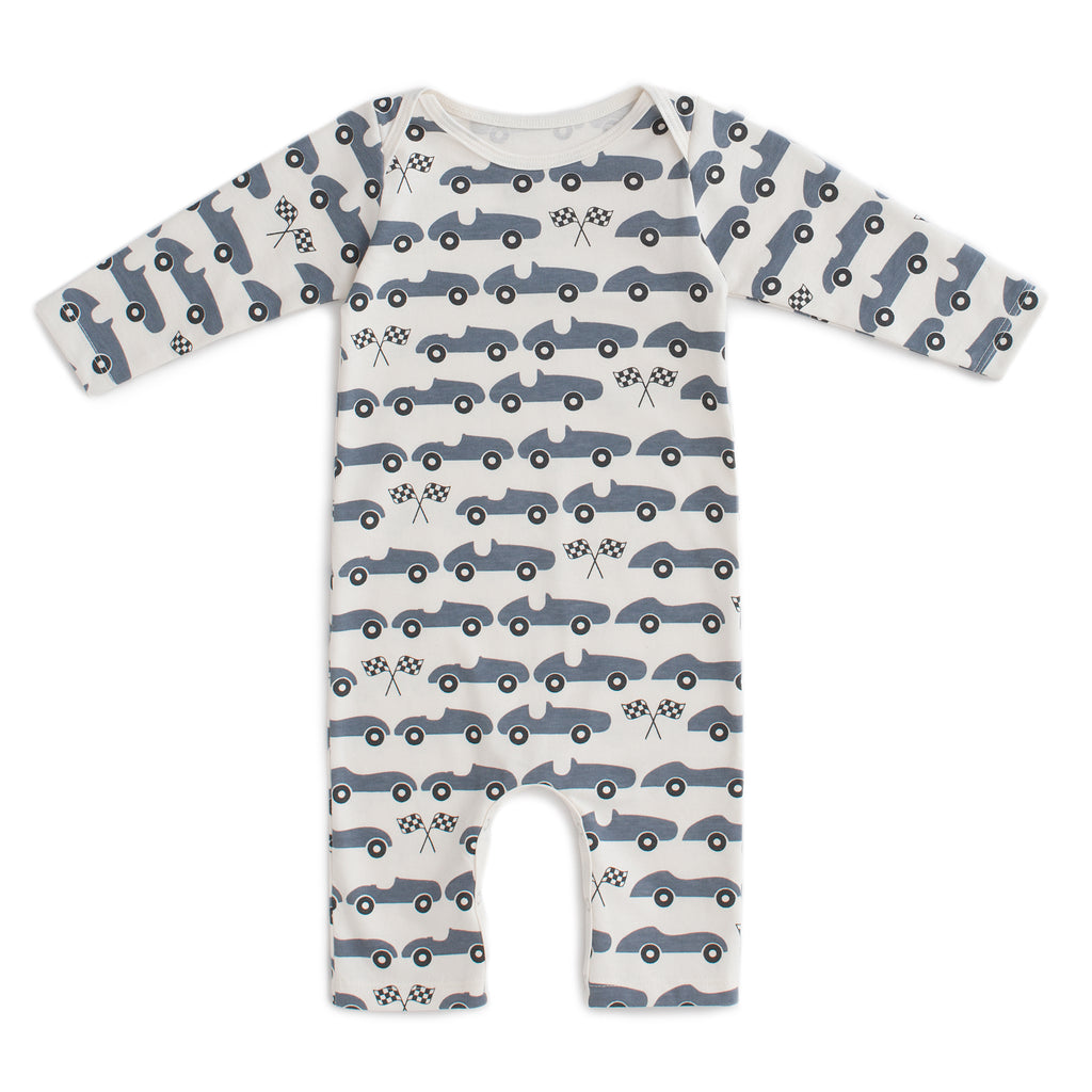 Long-Sleeve Romper - Race Cars Slate Blue