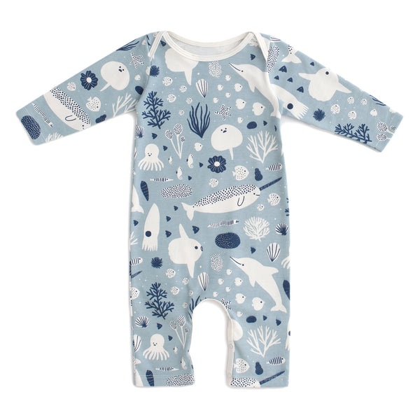 Long-Sleeve Romper - Sea Creatures Pale Blue & Navy