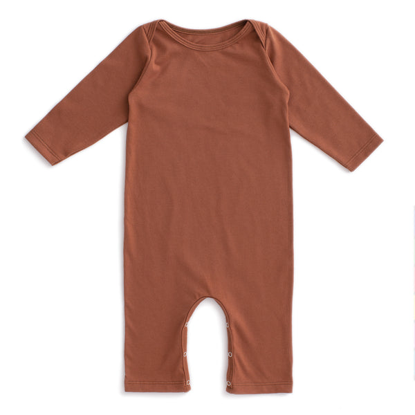 Long Sleeve Romper - Solid Chestnut