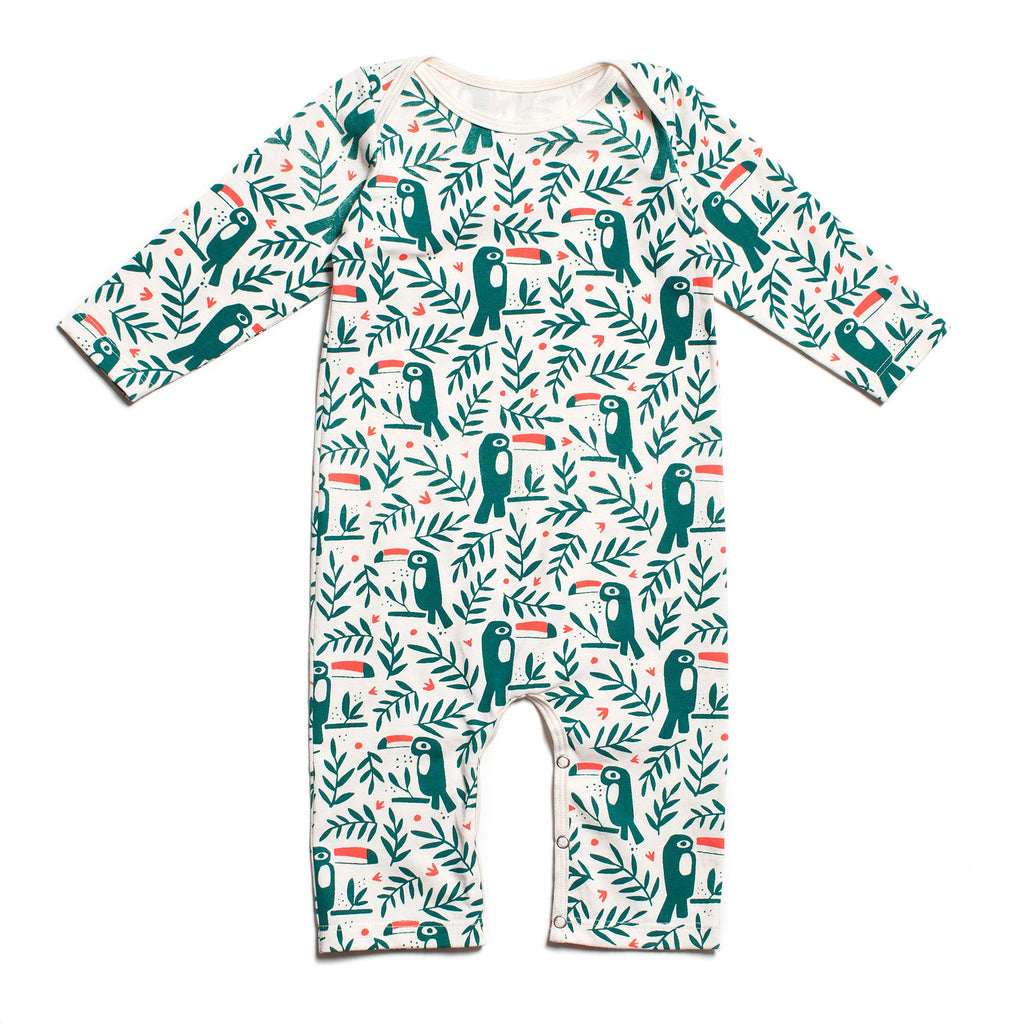 Long-Sleeve Romper - Toucans Green