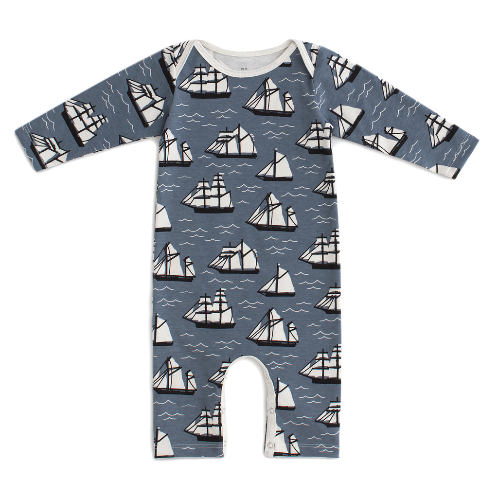 Long-Sleeve Romper - Vintage Sailboats Slate Blue & Black