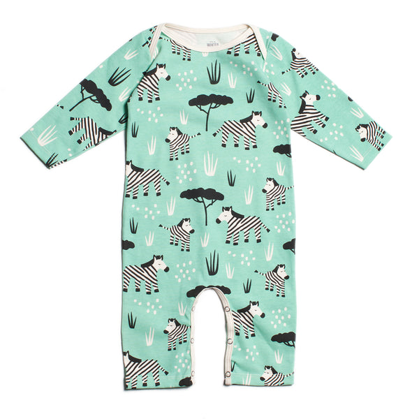Long-Sleeve Romper - Zebras Mint