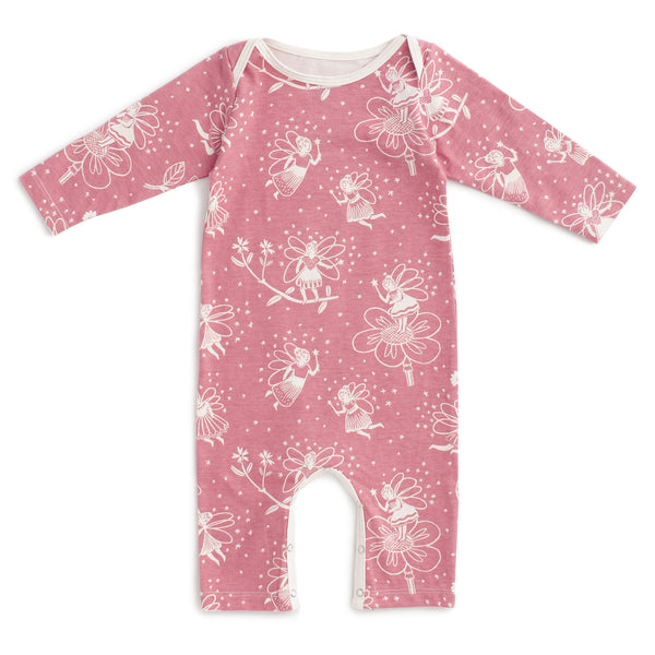 Long-Sleeve Romper - Fairies Dusty Pink