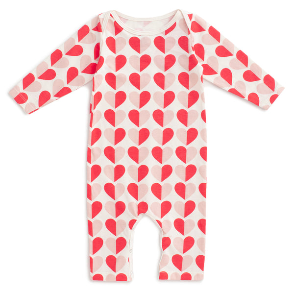 Long-Sleeve Romper - Hearts Red & Pink
