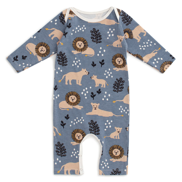 Long-Sleeve Romper - Lions Slate Blue