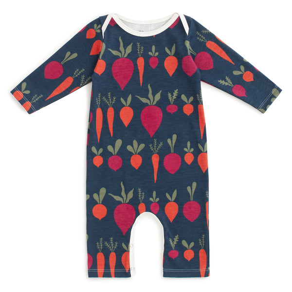 Long-Sleeve Romper - Root Vegetables Night Sky
