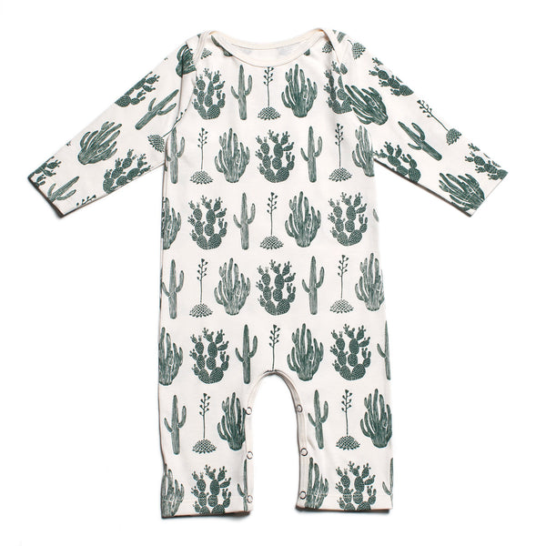 Long-Sleeve Romper - Cactus Green