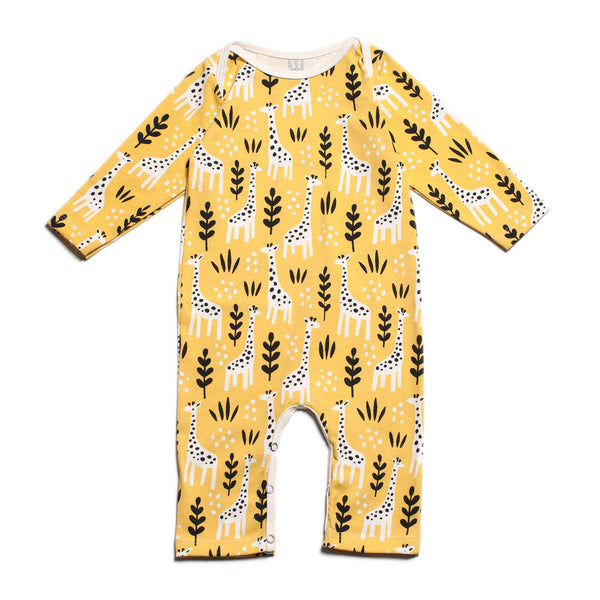 Long-Sleeve Romper - Giraffes Yellow