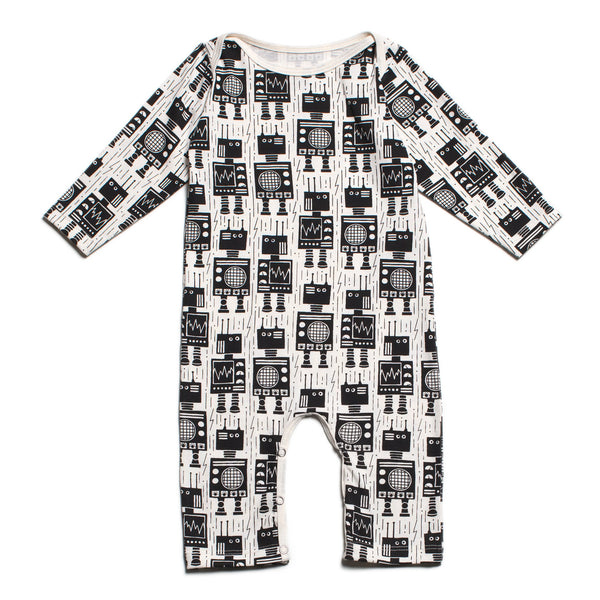 Long-Sleeve Romper - Robots Black