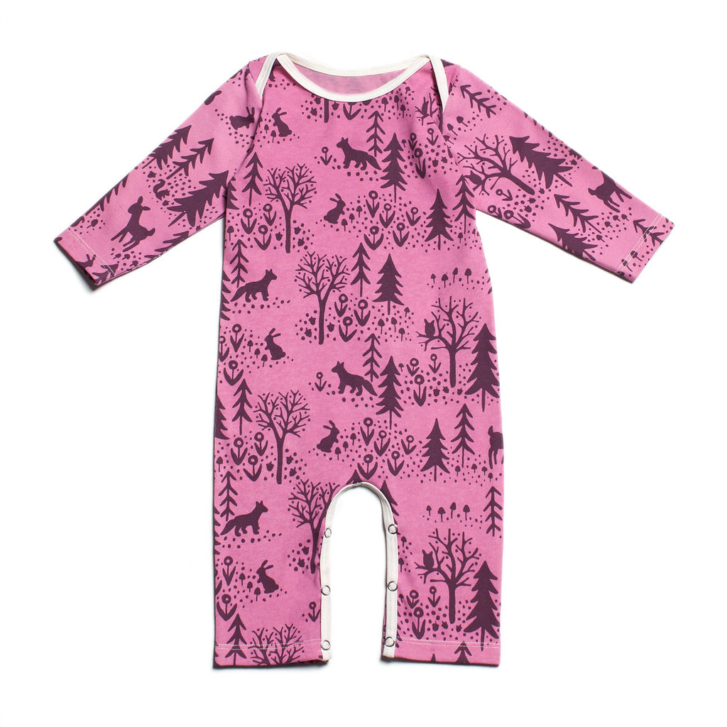 Long-Sleeve Romper - Winter Scenic Dusty Rose